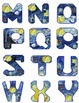Alphabetical Letters, Van Gogh's Starry Night,  Clip Art in PNG and JPG-