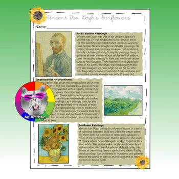 Van Gogh's Sunflowers Art Lesson