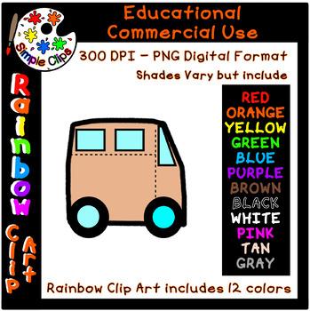 Van / Transportation  Rainbow Clipart - 12 Colors  Commercial Use {Simple Clips}