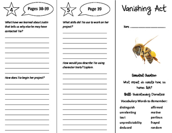 Vanishing Act Trifold - Journeys 6th Grade Unit 6 Week 3 (