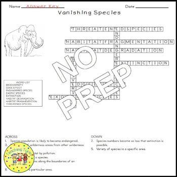 Vanishing Species Crossword Puzzle