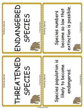 Vanishing Species Vocabulary Cards