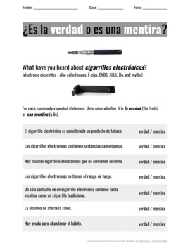 """Vaping! Content-Based Lesson on Truth and Lies About """"Cigarrillos Electrónicos"""""""