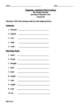 Journeys Common Core 5th - Vaqueros - Supplemental Packet for the SLP