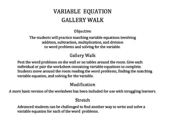 Variable Equation Gallery Walk Activity: Write & Solve Word Problems