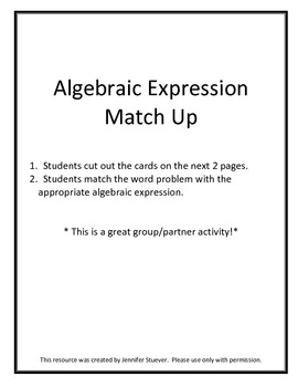 Variable Equation Match Up