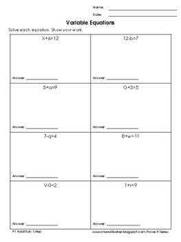 One-Step Variable Equations Add/Sub Easy