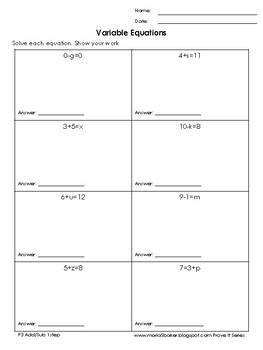 One-Step Variable Equations Add/Sub Easy Packet