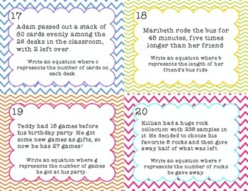 Variable Equations Word Problem Task Cards