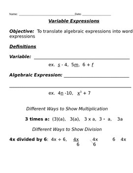 Variable Expressions Notes and Assignments