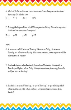 Variable Expressions Worksheet