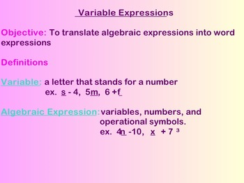 Variable Expressions Notes and Assignments on Smartboard