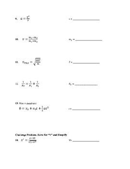 Variable Only Physics Equations: Practice Solving for Given Variable