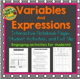 Variables and Expressions Interactive Notebook  and Student Activities