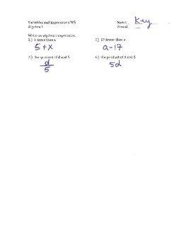 Variable and Expressions WS