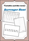 Variable and like terms - Scavenger Hunt