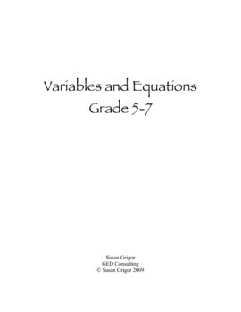 Variables & Equations Grade 5