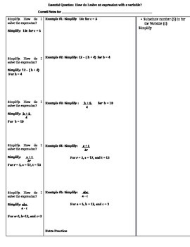 Variables & Expressions Cornell Notes (7.NS.3; Mathematical Practices 1, 3, 4)