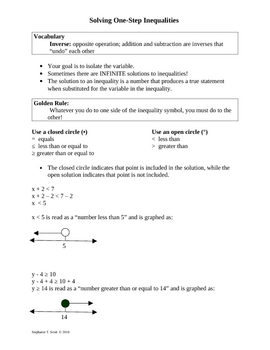 Variables, Expressions, Equations, & Inequalities Notes, Quiz, Test
