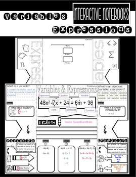 Variables & Expressions Foldable