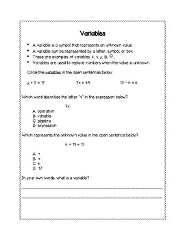 Variables, Expressions, Open Sentences Interactive Notebook