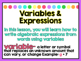 Variables & Expressions Power Point and Notes