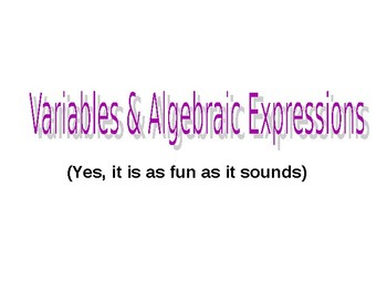 Variables, Expressions, and Order of Operations Powerpoint