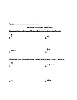 Variables, Expressions and Solving Equations with Addition & Subtraction