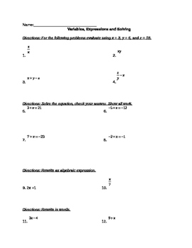 Variables, Expressions and Solving Equations with Addition