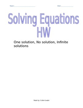 Variables Galore Solving Equations with Variables on Both Sides HW