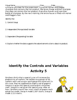 Variables Group Activity