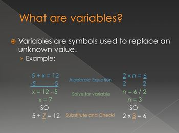 Math Variables PowerPoint
