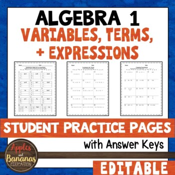 Variables, Terms, and Expressions Student Practice Pages