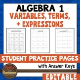 Variables, Terms, and Expressions - Editable Student Pract