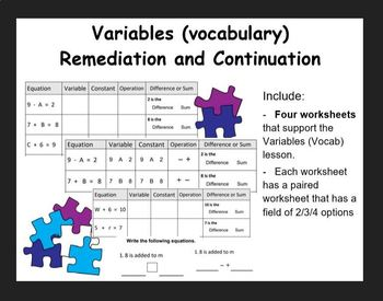 Variables (Vocab) - remediation/continuation