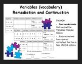 Variables (Vocab) - remediation/continuation