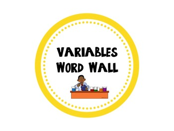 Variables Word Wall Circles- pictures and definitions included