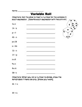Variables Worksheet Game