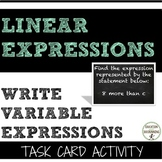 Write variable expression task card activity for linear expressions