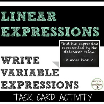 Variables - Write variable expression task card activity