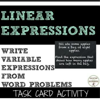 Write variable expressions word problems task card activity