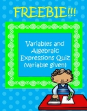 Variables and Algebraic Expressions Quiz (variable given) FREEBIE