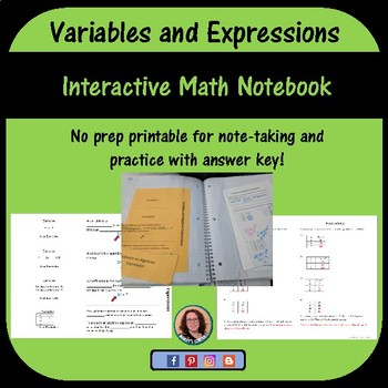 Variables and Algebraic Expressions foldable for Interactive Notebook