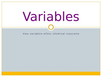 Variables and Chemical Reactions