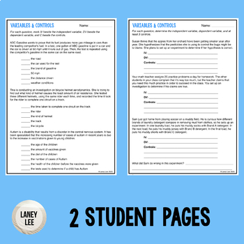 Variables and Controls Guided Practice - Print & Google Versions
