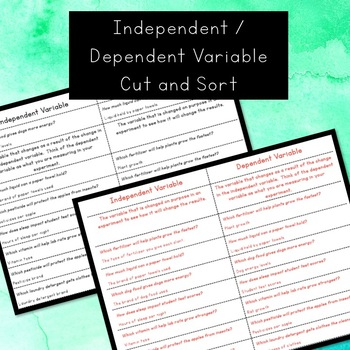 Variables and Data - Foldable and Sort