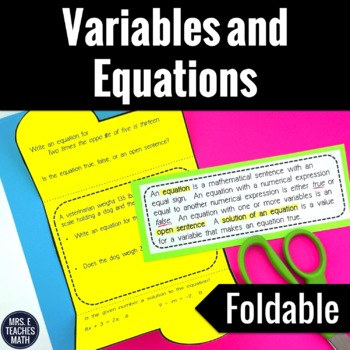 Variables and Equations Foldable