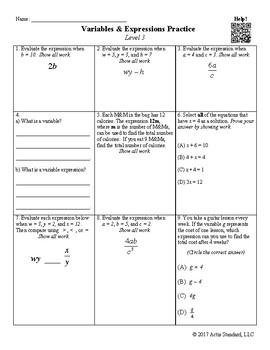 Variables and Expressions Practice