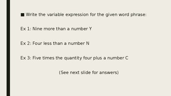 Variables and Expression PPT Lesson Plan