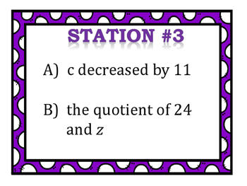 Variables and Expressions Stations